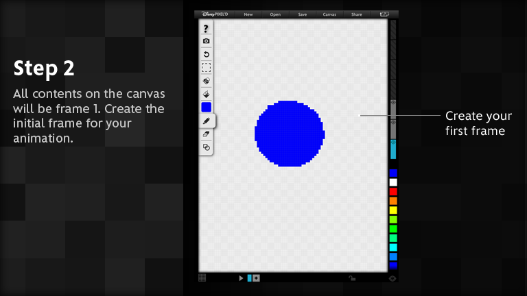 All contents on the canvas will be frame 1.  Create the initial frame for your animation.