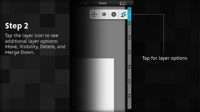 Tap the layer icon to see additional layer options: Move, Visibility, Delete, and Merge Down.