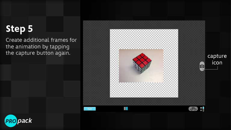Create additional frames for the animation by tapping the capture button again.