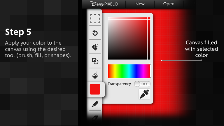 Apply your color to the canvas using the desired tool (brush, fill, or shapes).