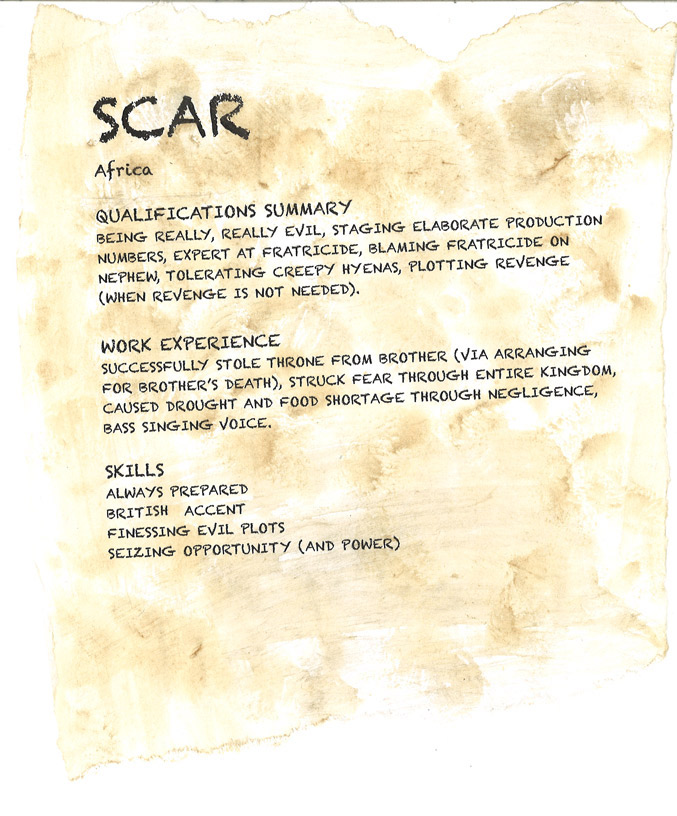 Disney Villain resume scar from the lion king